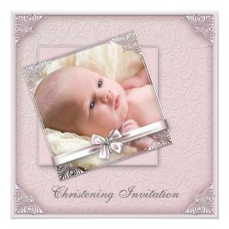 Baptême rose de photo de filles de damassé carton d'invitation  13,33 cm