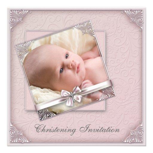 Baptême rose de photo de filles de damassé faire-parts