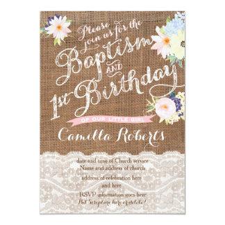 "Baptism and Birthday invitations, 1st Birthday 5"" X 7"" Invitation Card"