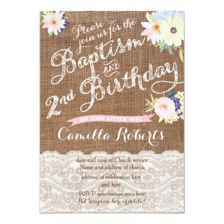 "Baptism and Birthday invitations, 2nd Birthday 5"" X 7"" Invitation Card"