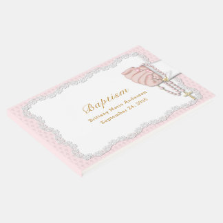 Baptism Baby Hand with Rosary Beads Pink Guest Book