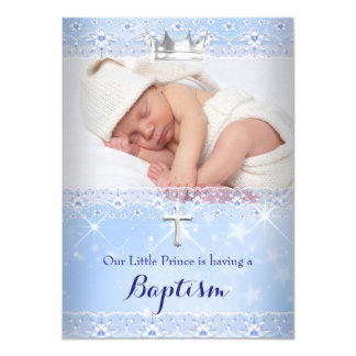 "Baptism Baby Photo of Boy Blue Crown 4.5"" X 6.25"" Invitation Card"