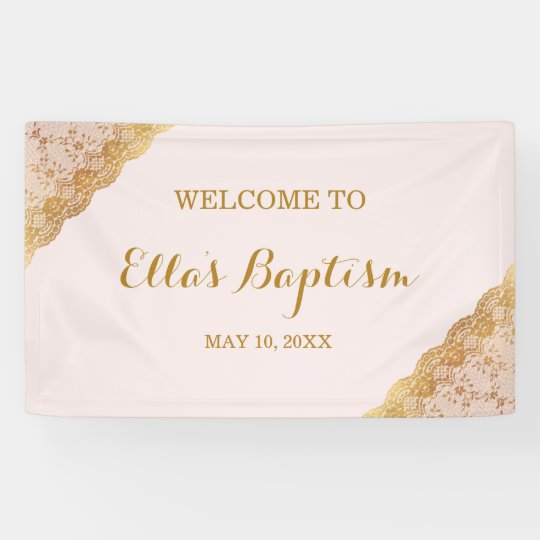 Baptism Banner Pink Gold Lace