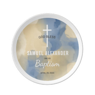 Baptism Blue and Gold Watercolor Keepsake Plate