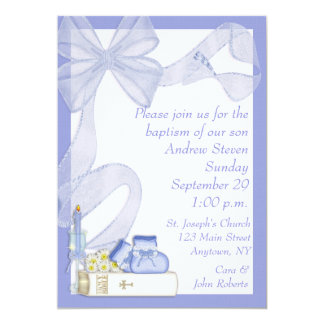Baptism Blue Bow Invitation