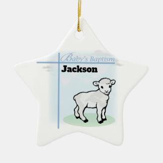 Baptism Blue Boy Lamb, Customizable Ceramic Ornament