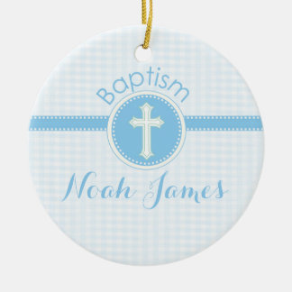 Baptism Blue Child of God, Customizable Round Ceramic Ornament