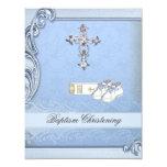 "Baptism Blue Cross Boy Damask Bible Shoes 4.25"" X 5.5"" Invitation Card"