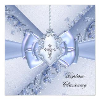"Baptism Blue Cross Boy damask christening 5.25"" Square Invitation Card"