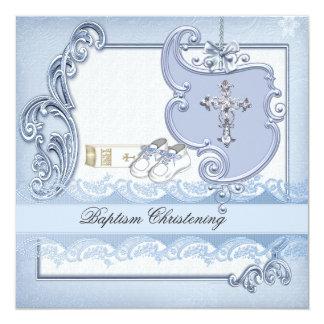 Baptism Blue Cross Boy damask christening Custom Invites