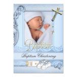 "Baptism Blue Gold Cross Boy Christening 2 5"" X 7"" Invitation Card"