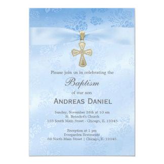 "Baptism Blue Roses 5"" X 7"" Invitation Card"