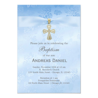 Baptism Blue Roses 5x7 Paper Invitation Card