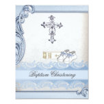 "Baptism Blue White Cross Boy Damask christening 4.25"" X 5.5"" Invitation Card"