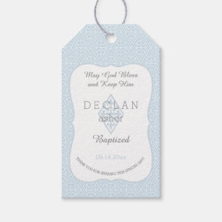 Baptism | Boy Blue Fleur de Lis Vintage Cross Gift Tags