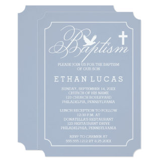 "Baptism | Boy Dove and Cross on Blue 5"" X 7"" Invitation Card"