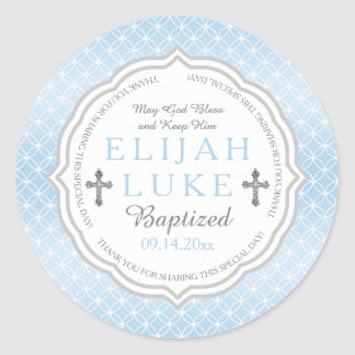 Baptism   Boy Eternity Rings Classic Round Sticker