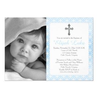 "Baptism | Boy Eternity Rings Crosses Photo 5"" X 7"" Invitation Card"