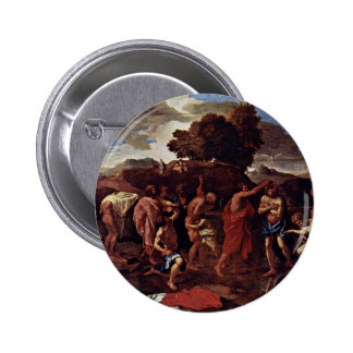 Baptism By Poussin Nicolas (Best Quality) Pinback Buttons