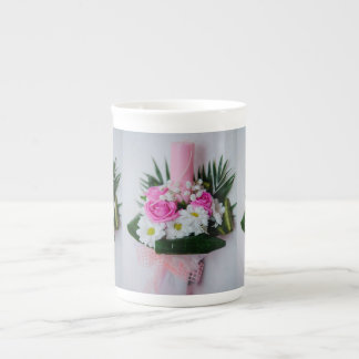 Baptism candle tea cup