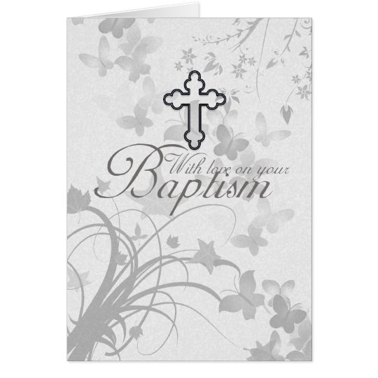 Baptism Card With Cross Flowers Butterflies