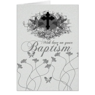 Baptism Card With Flowers And Humming Birds