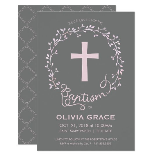Baptism Christening Invitation - Baby Girl Invite