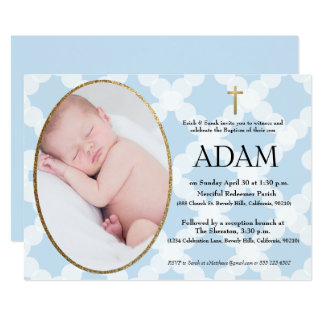Baptism, Christening invitation, blue & faux gold Card