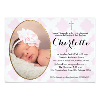 Baptism, Christening invitation, pink & faux gold Card