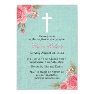 """Baptism Christening Vintage Floral Elegant Linen 5"""" X 7"""" Invitation Card"""