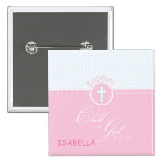 Baptism Congratulations Pink Child of God, Gift 2 Inch Square Button