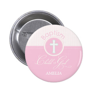 Baptism Congratulations Pink, Round Gifts 2 Inch Round Button