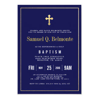 Baptism Dark Navy Invitation