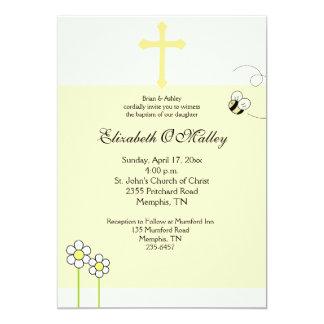 Baptism Dedication 5x7 Spring Bee Happy Invitation