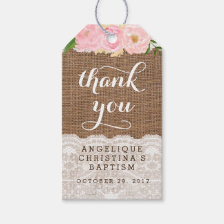 Baptism Favour Tags for Girl with pink flowers