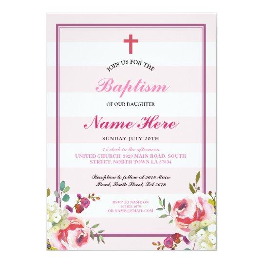 Baptism Floral Pink Stripe Girl's Invitation