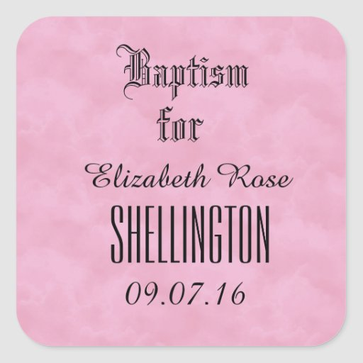 Baptism for Girl PINK CLOUDS V01 Square Stickers