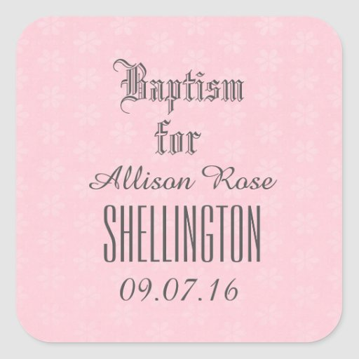 Baptism for Girl PINK Tiny Flowers V05 Square Stickers