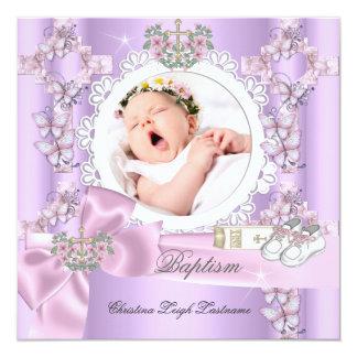 "Baptism Girl Lilac Pink White Photo Christening 5.25"" Square Invitation Card"