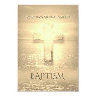 Baptism Golden Cross Card