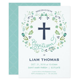 Baptism Invitation - Boy - Customize - with Cross