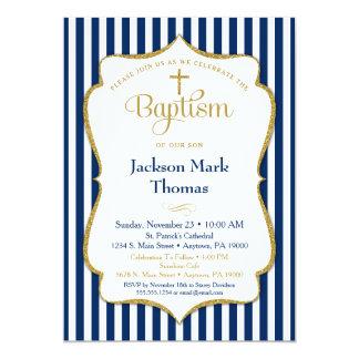 Baptism Invitation Boys Navy Blue Gold Elegant