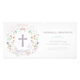 Baptism Invitation Card - Baby Girl Invite, Cross