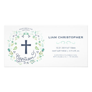 Baptism Invitation Card - Invite w/ Cross - Custom