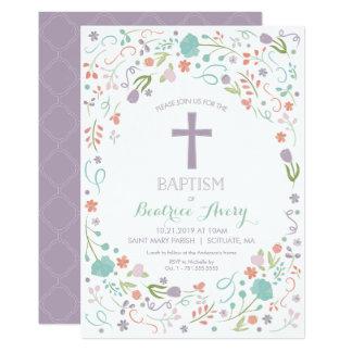 Baptism Invitation - Customize, Flowers, Cross