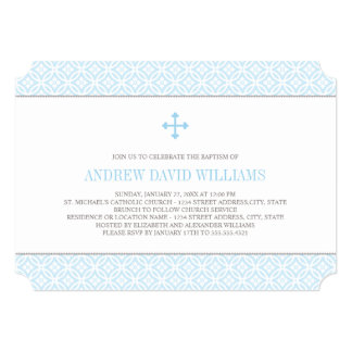 Baptism Invitations for Baby Boy | Blue Pattern