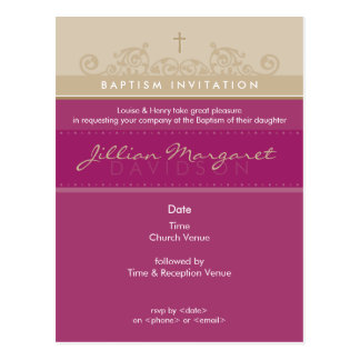 BAPTISM INVITE elegant 4 Post Cards