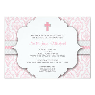 Baptism Invite for GIRL Pink and Gray Damask