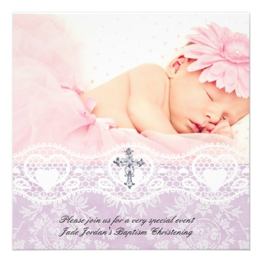 Baptism Lilac White Lace Photo Jewel Cross Girl Invitations