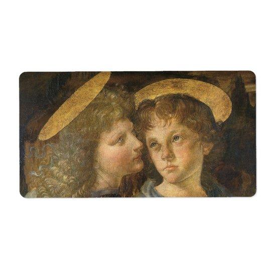 Baptism of Christ Angels by Leonardo da Vinci Shipping Label